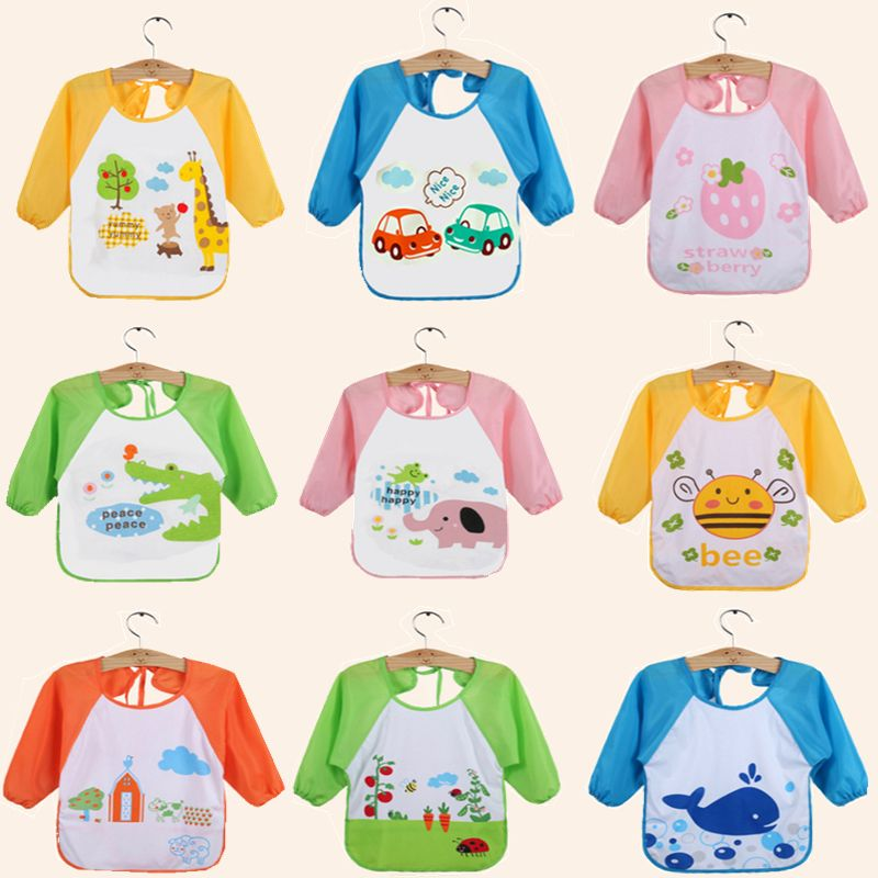 Babies Boys Girls Newborn Long Sleeve Feeding Bib