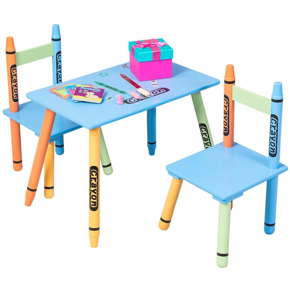 Giantex 3 Piece Crayon Kids Table Chairs Set Wood Children Activity Playroom Furniture Colorful Learning Tables Hw56663