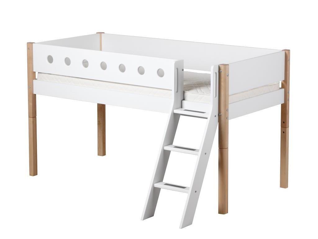 Wundervoll Bett Halbhoch Beste Wahl Weiß - Natur, Schräge Leiter + Lattenrost,