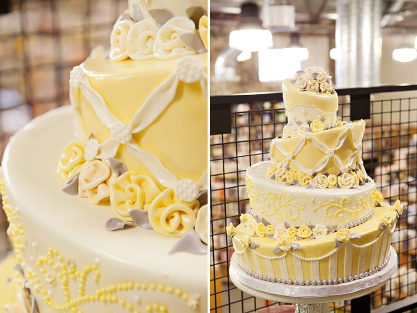 Whimsical cream, yellow, white & grey wedding cake. Inspired by the ...