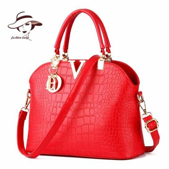 New Women Handbags Famous Brands Women Messenger Bag Alligator Pattern PU Leather  Handbags Shell Shoulder Bag 11dc9d6a44f3a