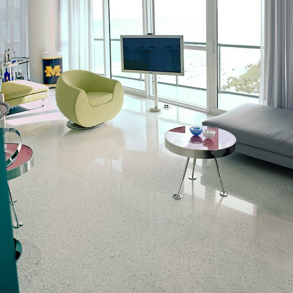Pet Friendly Decorating Flor Carpet Tiles: Terrazzo White On This Modern Living Room