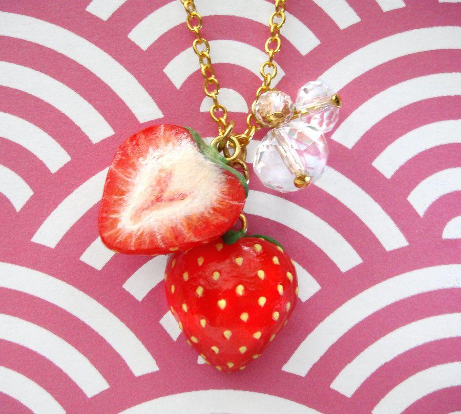 Sliced Strawberries Necklace by *KawaiiCulture on deviantART
