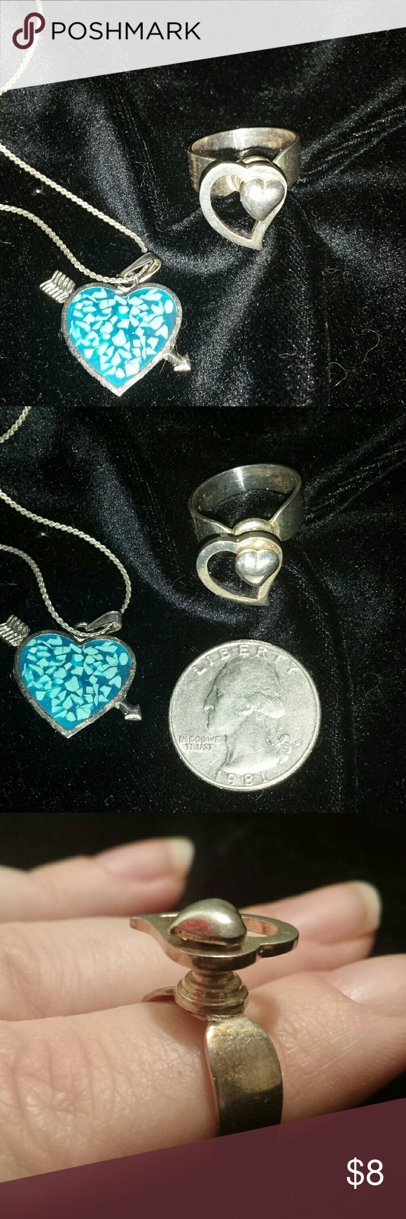 """Unique vintage silver heart jewelry bundle Vintage silver tone jewelry with hearts is perfect for Valentine's Day. Heart pendant with arrow is accented with turquoise chips in resin. Pendant is in EUC. Chain is 16"""" long, has some tarnish on ring clasp.  Unique ring has a swiveling setting. Sits high on the finger. Tiny heart is stationary will larger heart swivels. Ring is size 6.5 An adorable little bundle for a tween. Jewelry"""