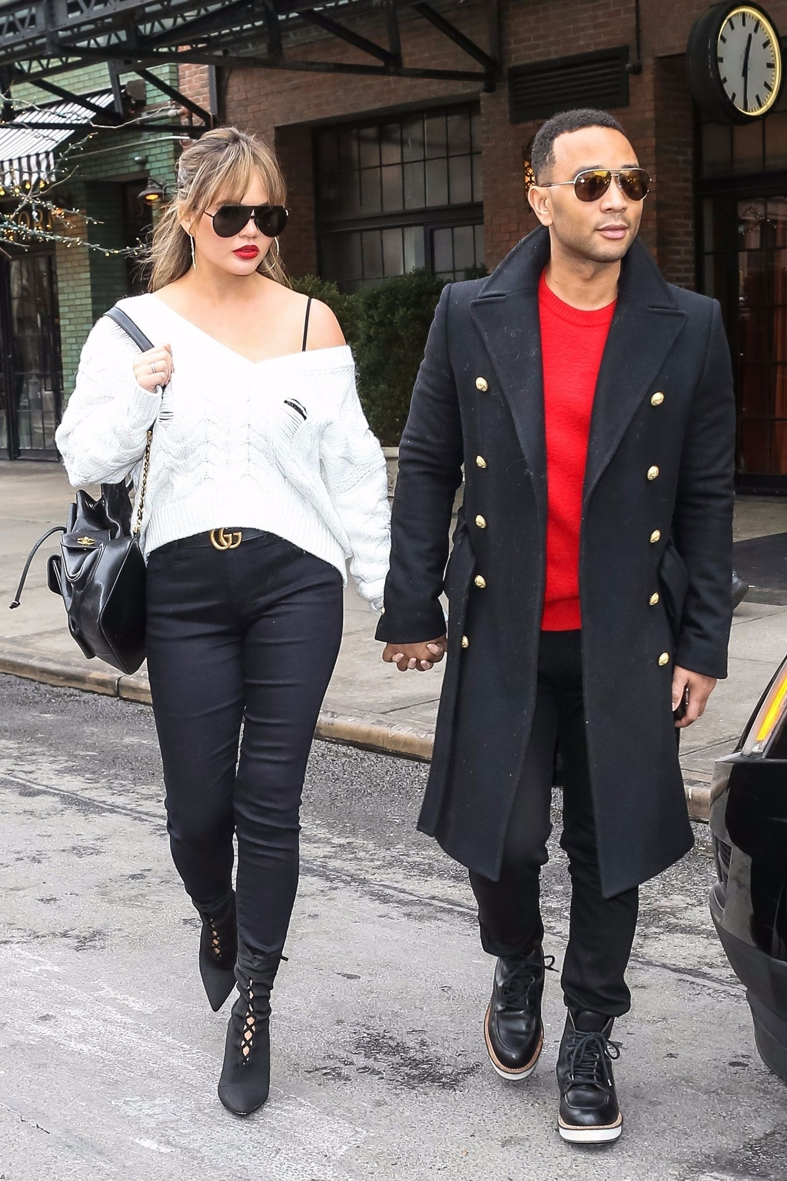 fffba04ba4 Chrissy Teigen s White Sweater and Lace-Up Booties