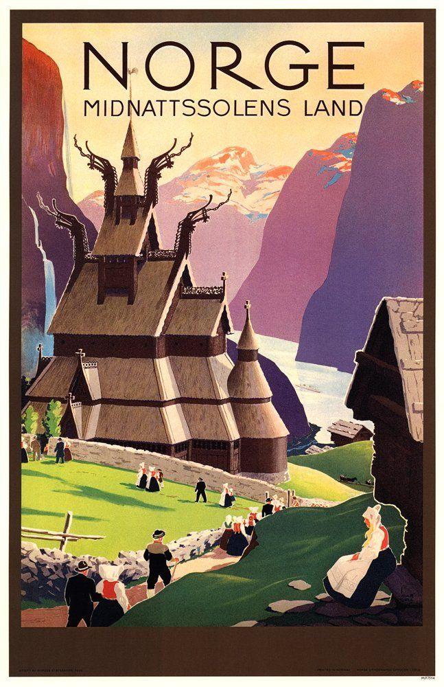 Amazon com: Norway Travel Poster - Land of The Midnight Sun