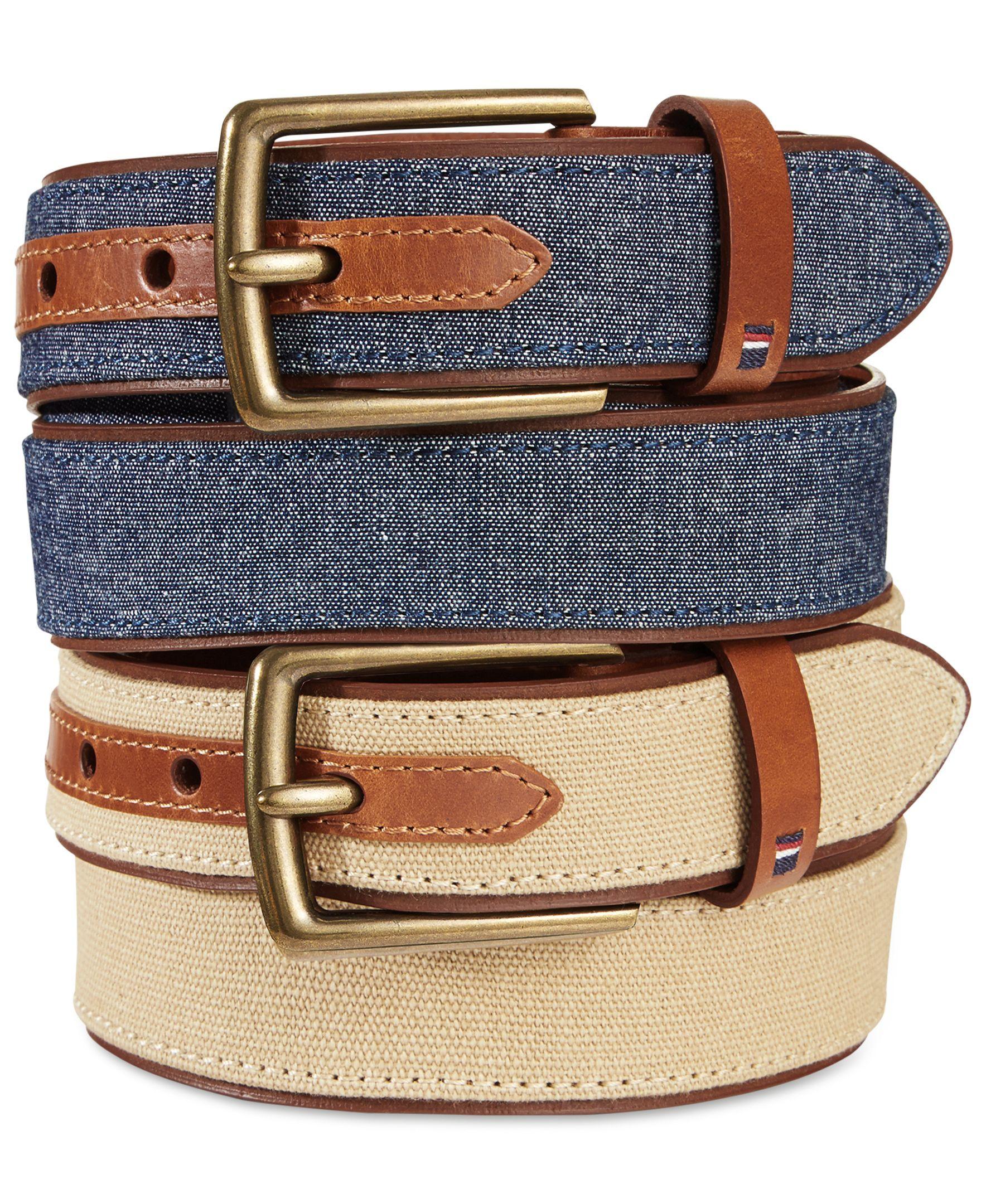 Tommy Hilfiger Canvas Belt Cintos masculinos, Cinto de couro