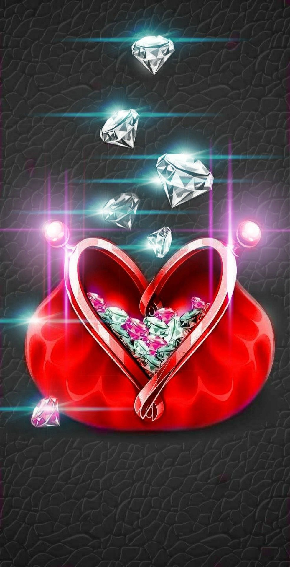Red Purse Of Gems Black Background Diamond Wallpaper Heart Wallpaper Cellphone Wallpaper