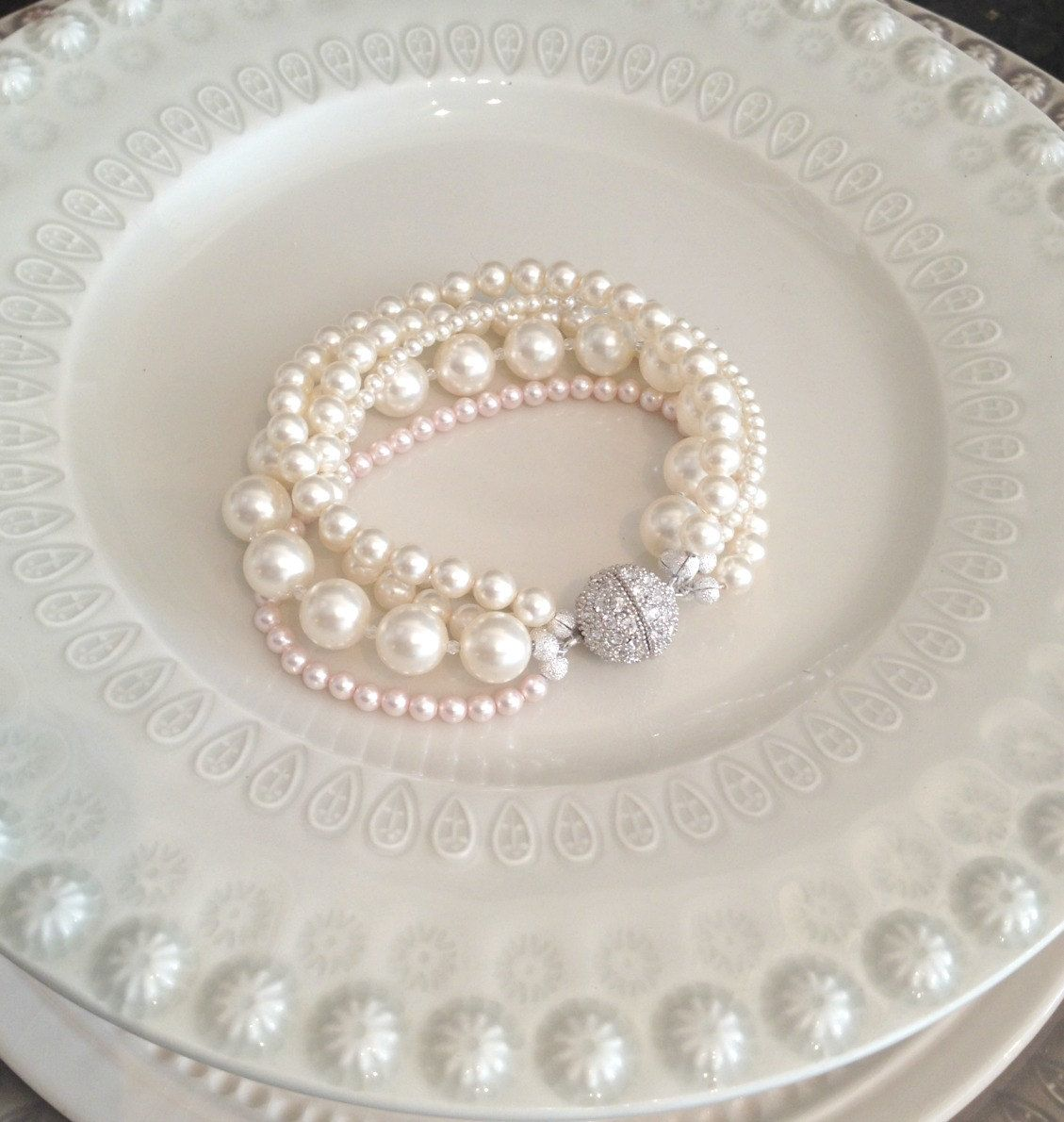 Blush Pearl Bracelet Ivory and Blush Wedding by SarahWalshBridal, $175.00