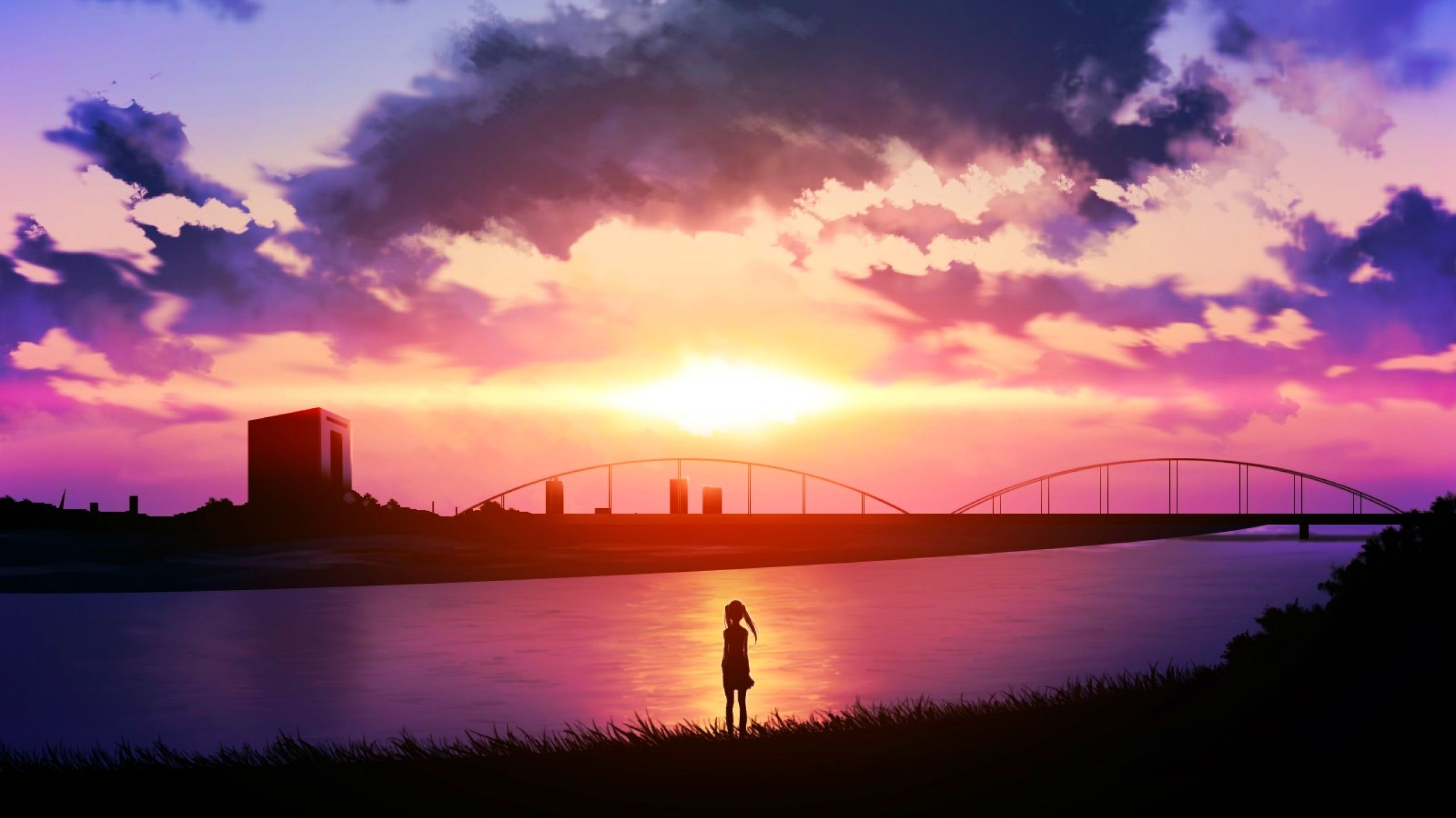 Sunset Scenic Anime scenery, Anime background