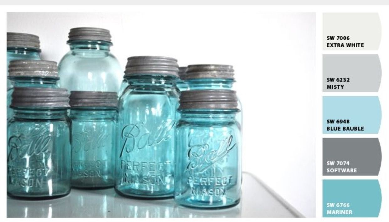 Mason Jar Blue Paint Colors Blue Paint Colors Blue Mason Jars Blue Bathroom Paint