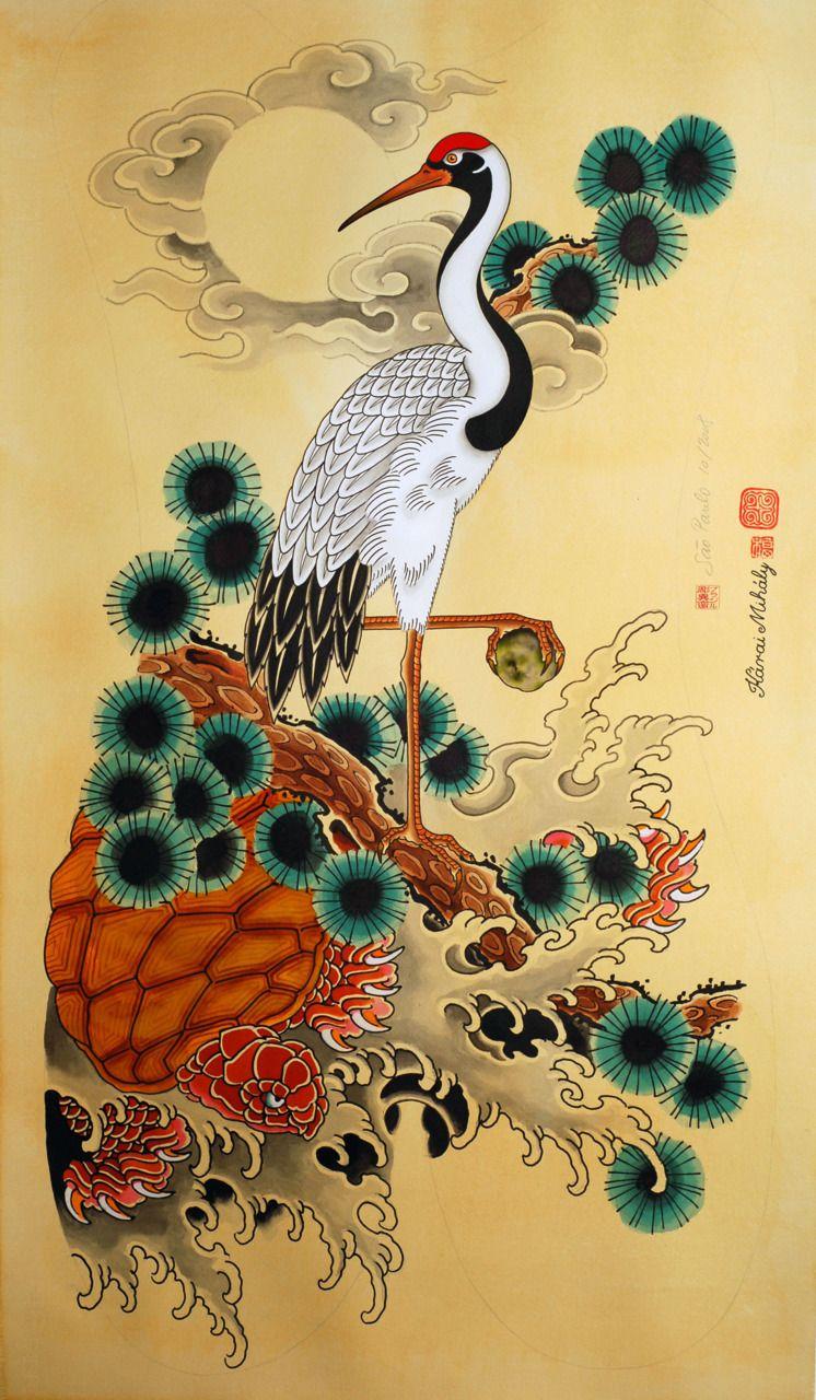 Crane, Pine, and turtle signs of longevity Heron art