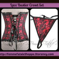 """Ooh La La! This sexy Black & Red Lace bustier/Corset, features black lace all over a red background, adjustable shoulder straps and, hook and eye front and ribbon tie back closure includes g-string panties. Color: Black & Red Size: Fits Up To: Bust-38"""", Hips-43.5"""", Waist-32"""".  Very Limited Qua..."""