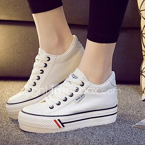 Womens Shoes Canvas Increased Within Flange Leisure Platform Comfort  Round  Toe Fashion Sneakers Outdoor  Athletic