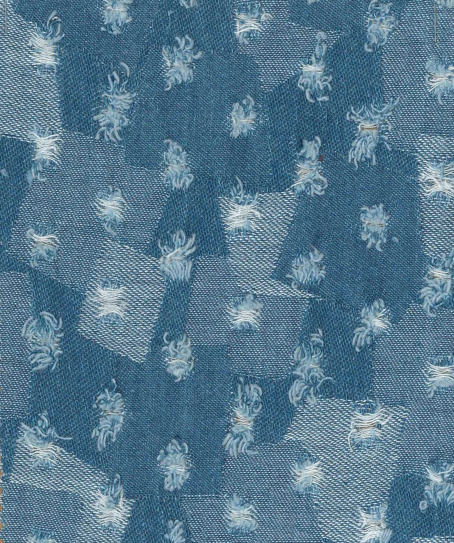 Fabric is 100% Cotton Jacquard Cut Indigo Blue Denim.    Fabric Hand feel is rough and weight of fabric is around 250gsm to 280gsm or around 7.8 oz to 7.8 oz.   It is heavy weight fabric, good for making Jackets, Jeans, denim shorts, upholstery, & hand bags.    #fabrics #denims #jacquard