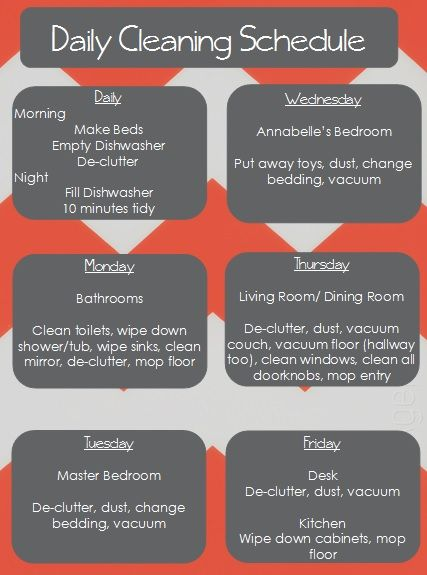 Cleaning Schedule For A 2 Bedroom Apartment