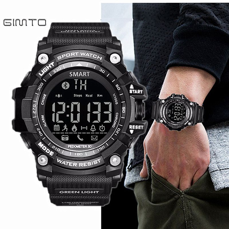 7568b114a196e Gimto Brand LED Outdoor Electronic intelligent Wristwatch Waterproof Sport  Digital Smart Watch Pedometer WristWatch Men   Price   36.80   FREE  Shipping      ...