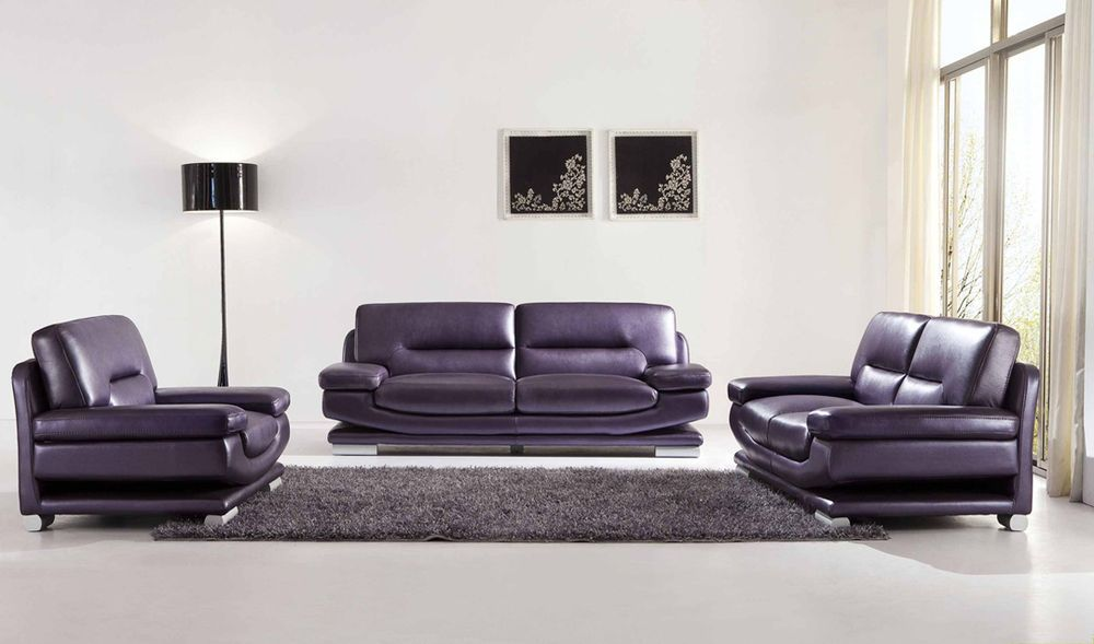 Chic Modern Esf 2757 Full Purple Italian Leather Sofa Set Contemporary Style Ebay Leather Living Room Set