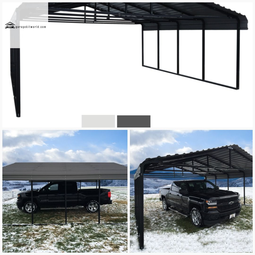 Arrow Charcoal 20 x 24 Steel 2 Car Carport Kit Carport