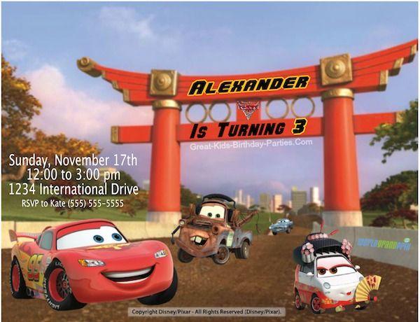disney cars birthday party invitations