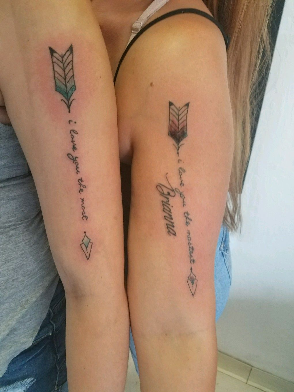 Mother Daughter Tattoos I Love You The Most I Love You The Mostest Arrows Tattoos For Lovers Couples Tattoo Designs Couple Tattoos