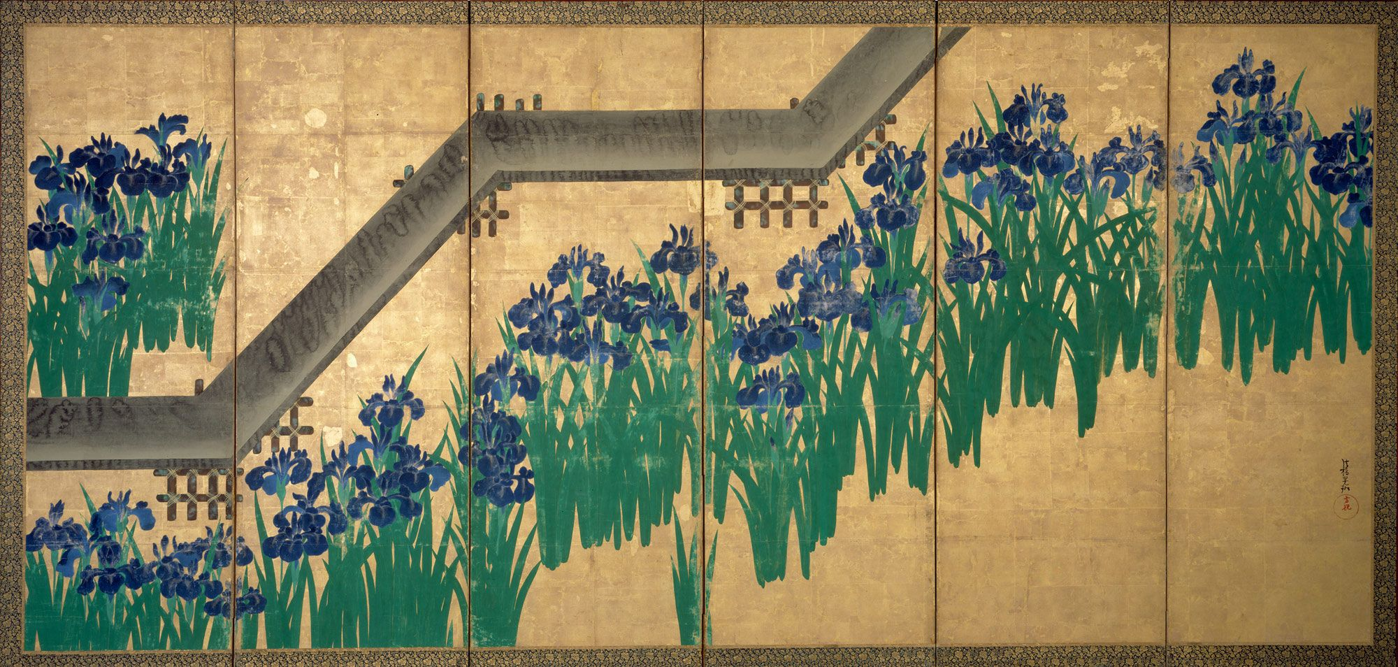 Color in japanese art -  Br Irises At Yatsuhashi Eight Bridges Artist Ogata K Rin Japanese Period Edo Period Date After 1709 Culture Japan Medium Pair Of