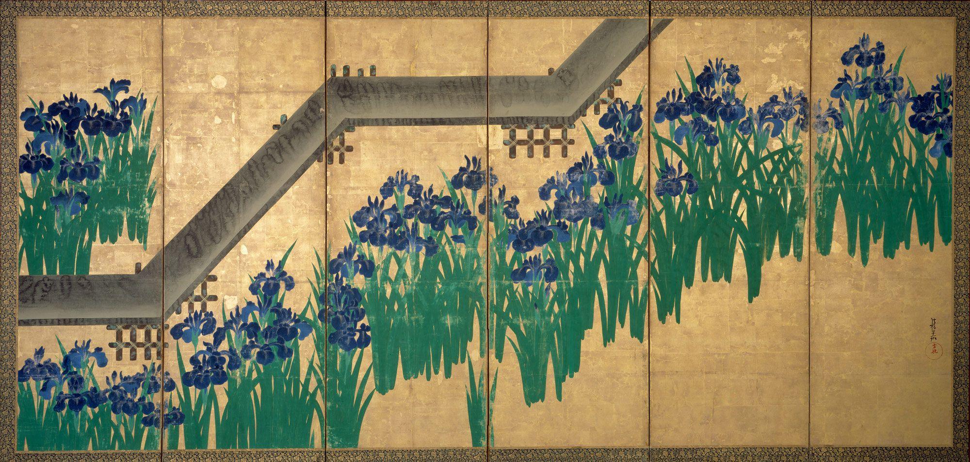 Color in japanese art -  Br Irises At Yatsuhashi Eight Bridges Artist Ogata K Rin Japanese Period Edo Period Date After 1709 Culture Japan Medium Pair Of