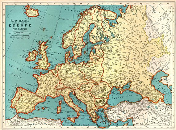 1940 Vintage EUROPE Map Antique Map of Europe Print Gallery   Maps     1940 Vintage EUROPE Map Antique Map of Europe Print Gallery