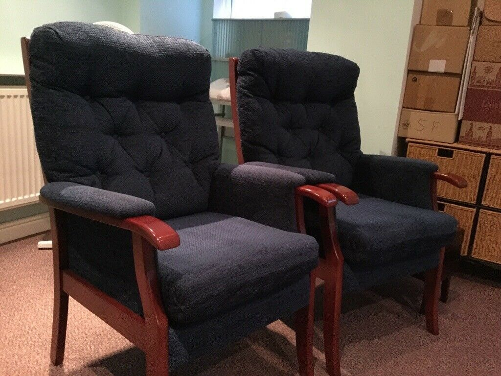 Two Blue Cushioned Arm Chairs With Dark Wood Arms In Altrincham Manchester Gumtree In 2020 Armchair Chair Home Decor