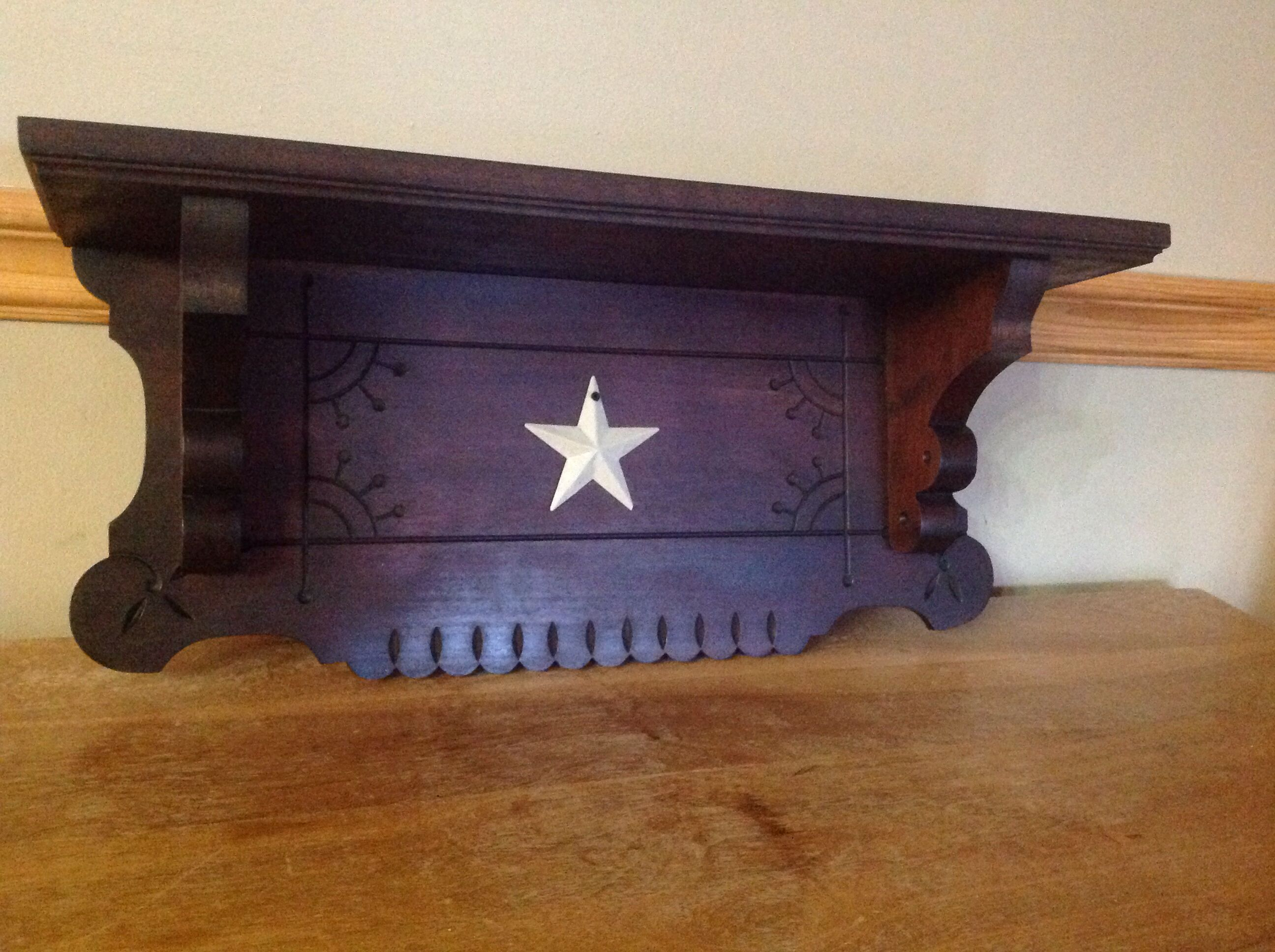 Shelf made from antique pump organ (circa 1896). Primitive upcycled repurposed furniture.