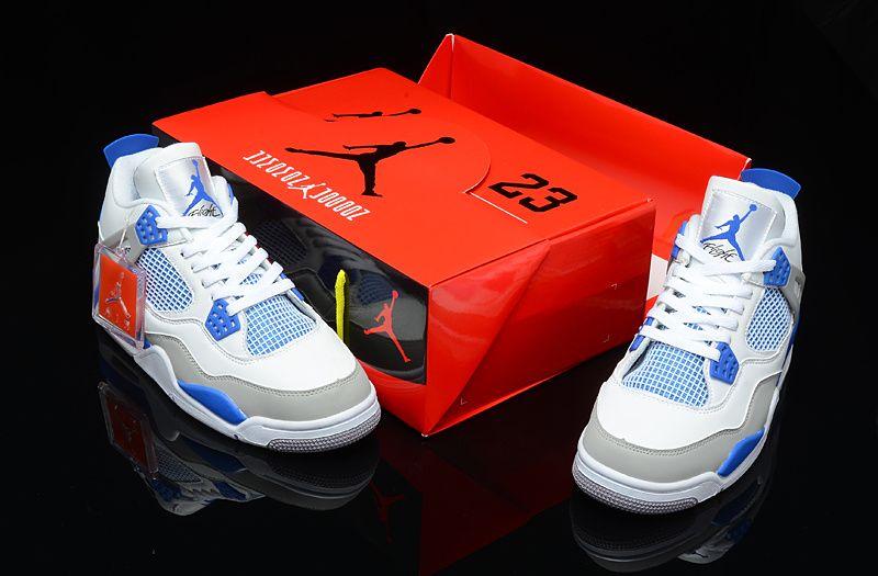 60b5cb23003e Air Jordan Shoes Air Jordan 4 Retro White Military Blue Neutral Grey  Leather Hardcover  Air Jordan 4 - The Air Jordan 4 Retro -White   Military  Blue ...