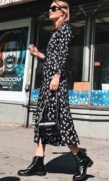 vestido floral com fundo preto estampa de inverno look (9