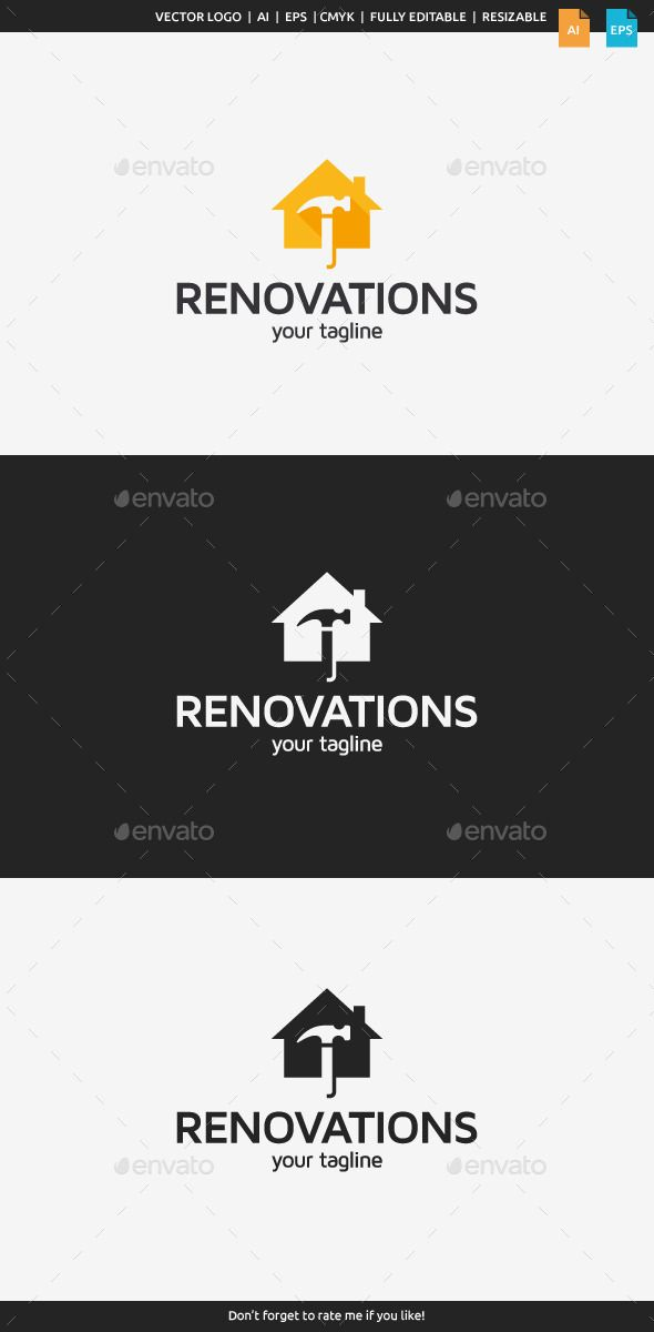 Home Renovations Logo Template by flatos Description This logo can be used by home renovation companies, construction companies etc.Whats included?100% vector AI and EPS f