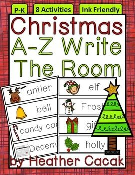 Christmas Words A Z.A Z Christmas Holiday Write The Room Activities Word Wall