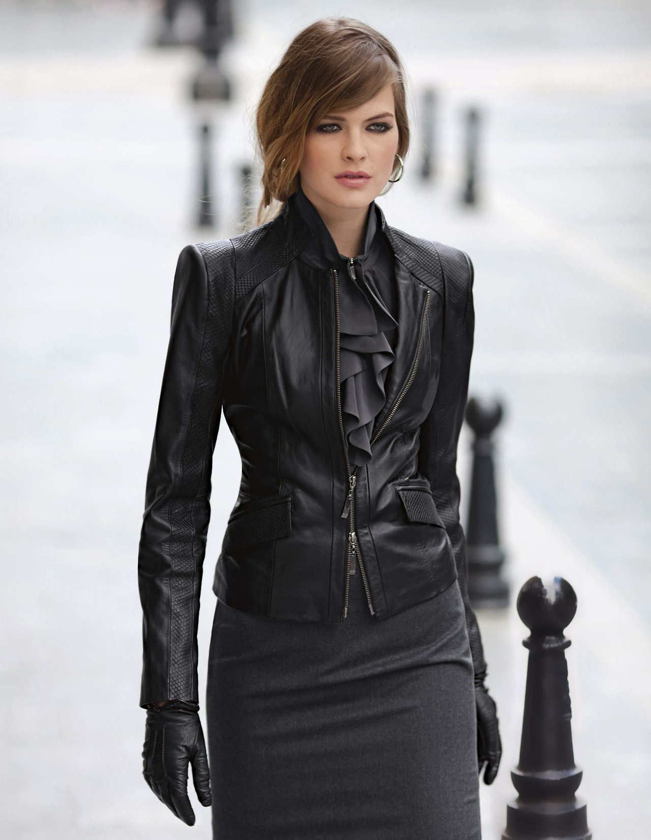 Winter Dress ruffle dress with black leather jacket and