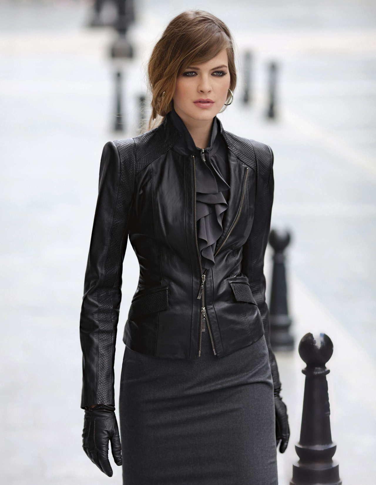 Women wearing leather coats
