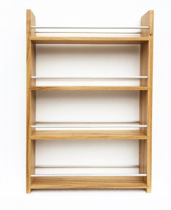 Woodworking Plans For Kitchen Spice Rack: Solid Oak Spice Rack 4 Tiers Deep Shelves For Kilner Jars