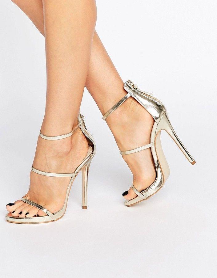 4da9d4a295 Public Desire Aisha Gold Strappy Heeled Sandals | Products | Strappy ...