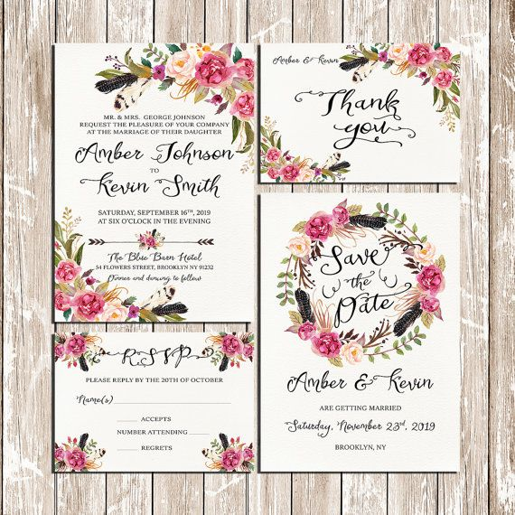 Blumen Und Federn Bohemian Blumen Kranz Hochzeit Einladung Kit