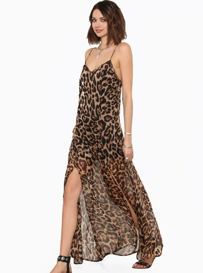 65569c3b96 Find More Dresses Information about New 2014 Chiffon leopard Maxi Dress