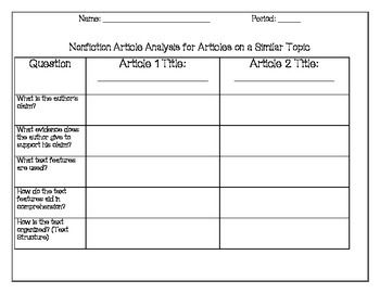 Nonfiction Template  That Can Be Used For All Nonfiction Articles