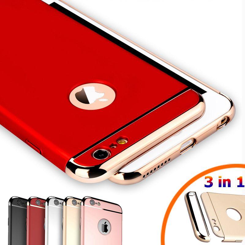 Luxury royal gold metal placcatura dura di caso per iphone 7 6 6 s più 5 s se 3 in 1 copertura posteriore per iphone 6 7 6 s capa coque funda