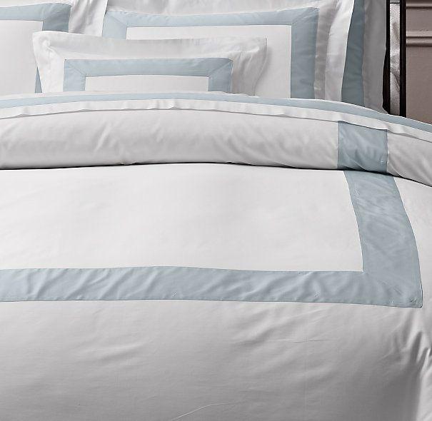 Italian Banded Sateen Duvet Cover Duvet Covers Bedding
