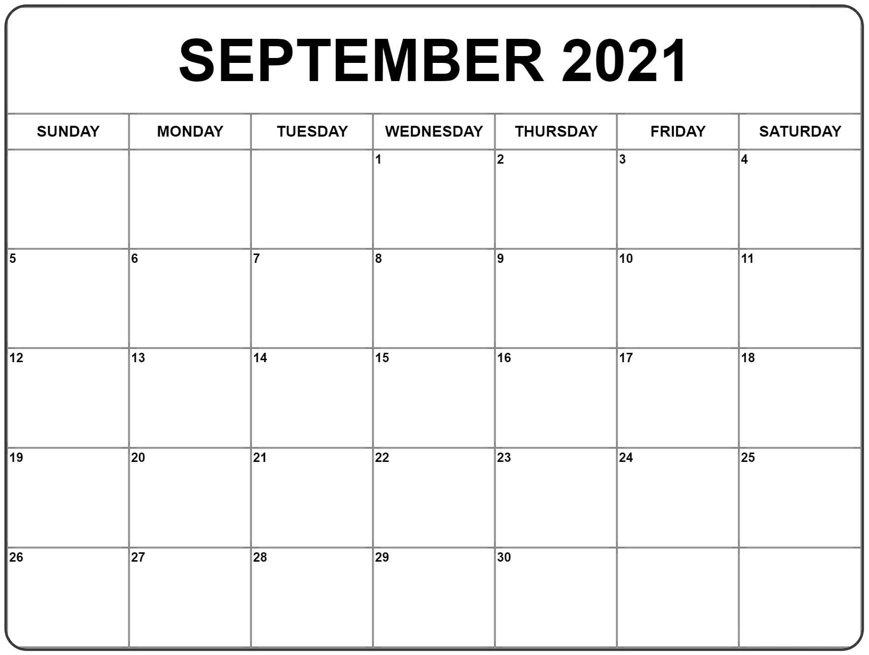 September 2021 Calendar | Blank monthly calendar template, Monthly