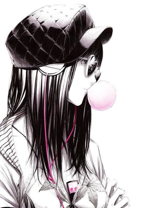 animegirl #animeart #cap #pink #bubblegum #cool #audiophile #audio ...
