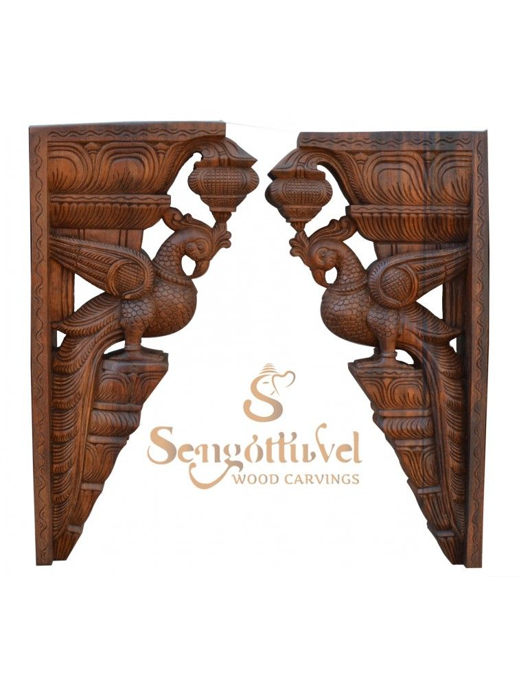 Pair Of Parrot Wood Wall Brackets In 2020 Buddhist Art Drawing Wood Carving Art Wood Wall