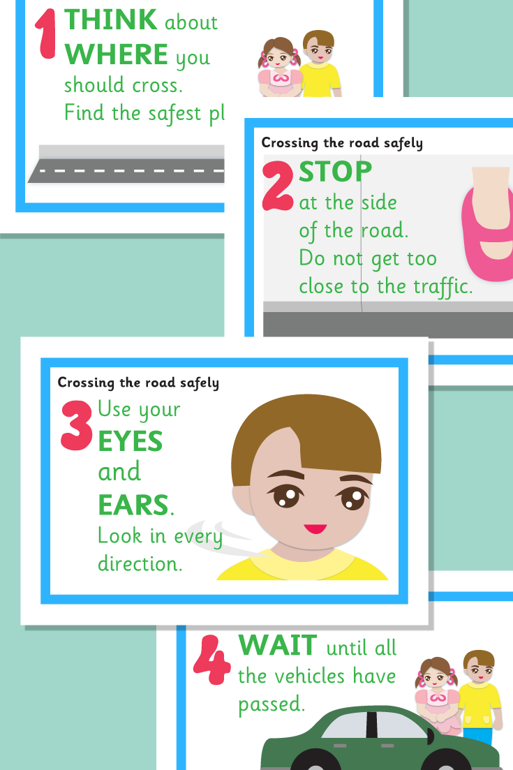 Crossing the Road Safely Posters Preschooler safety