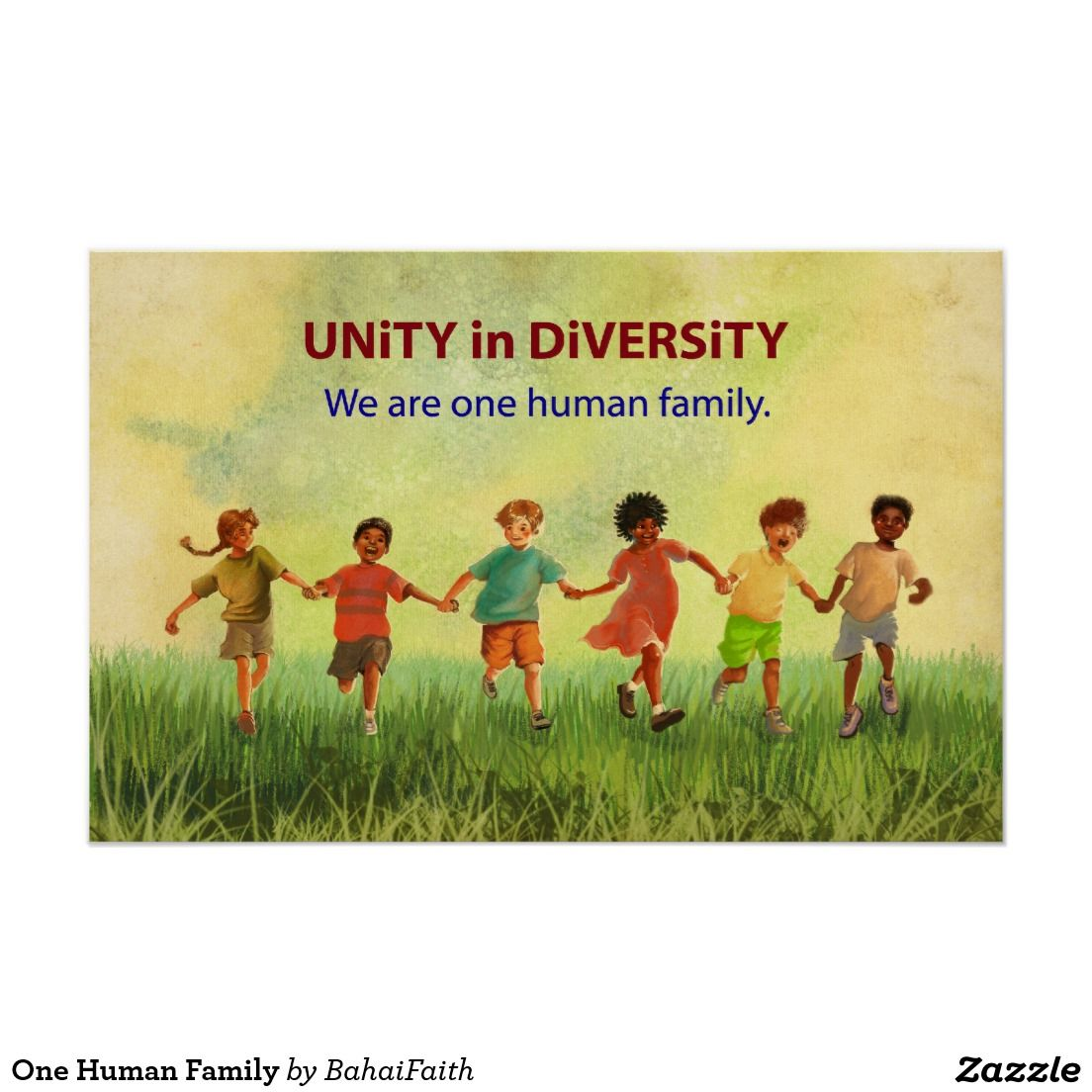 One Human Family Poster Zazzle Com Family Poster Unity In