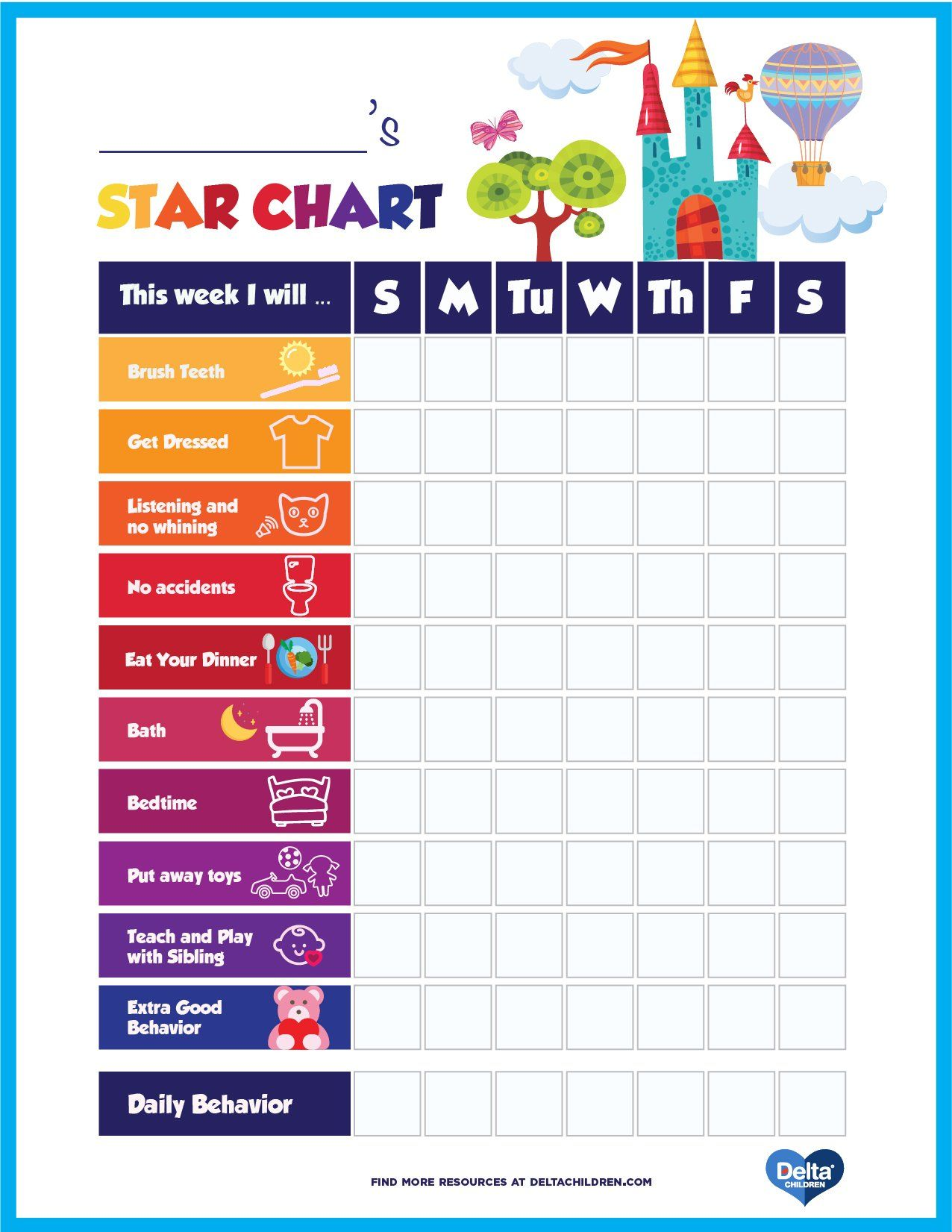 Printable Kids Star Behavior Chart