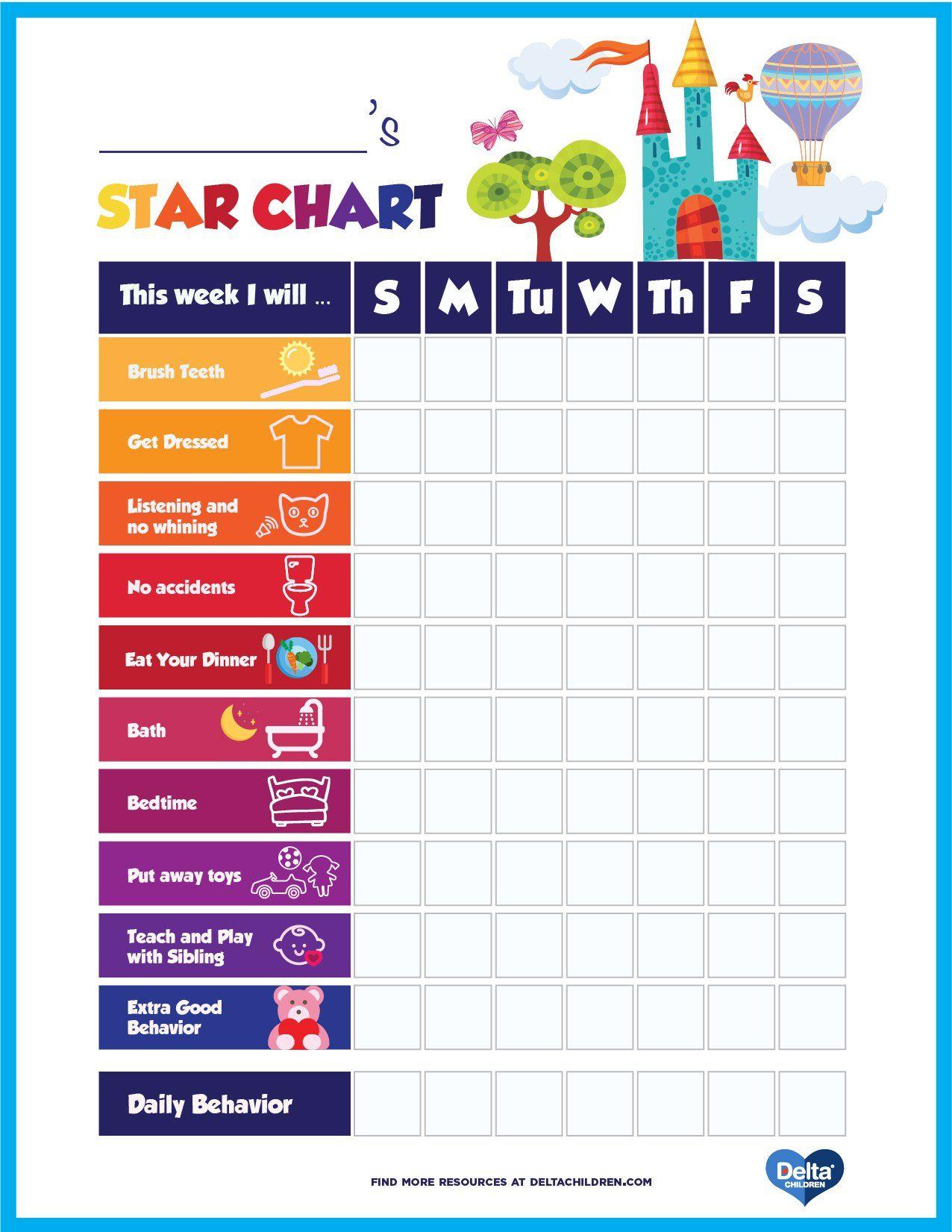 Printable Kids Star Behavior Chart